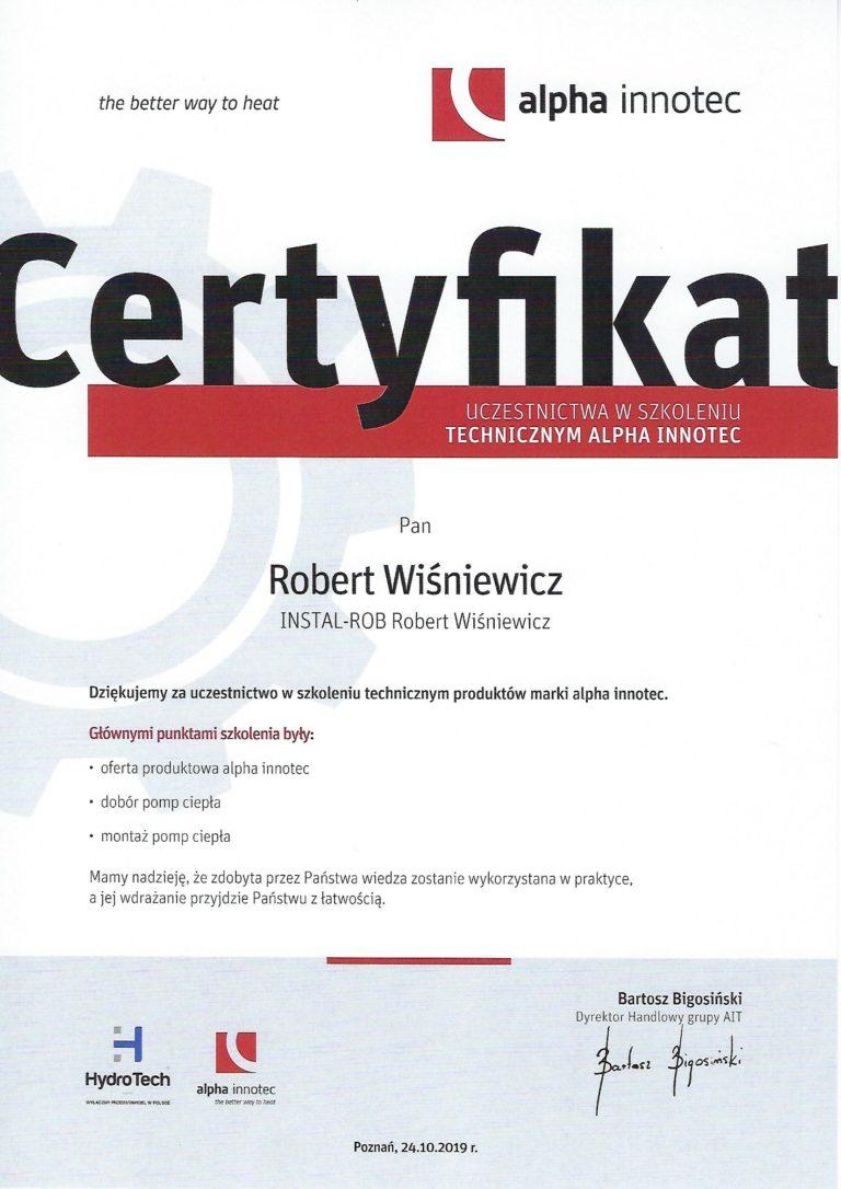 Certyfikat alpha innotec